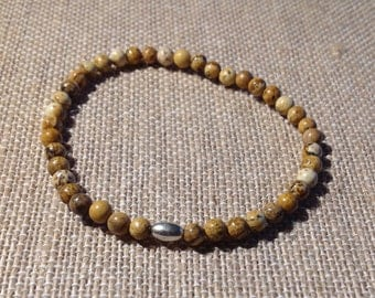 Mens 4mm Picture Jasper stretch bracelet with sterling silver tube bead