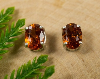 Hessonite Garnet Sterling Silver Earrings