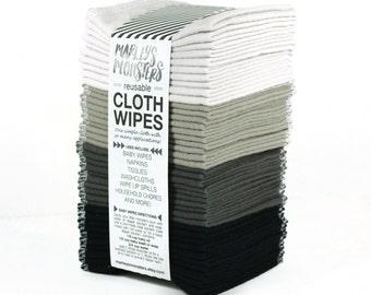 40 Reusable CLOTH WIPES. Mix of greys