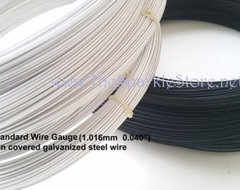 19 gauge white millinery hat wire, 60 yard coil, rayon covered galvanized steel, made in the USA, 19 standard wire gauge,  white