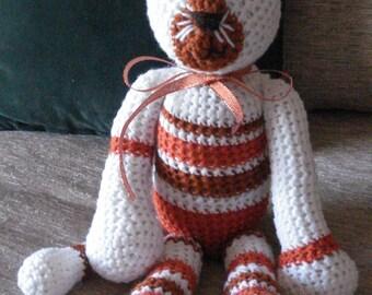 "Crocheted kitty cat stuffed animal doll toy ""Tom"""
