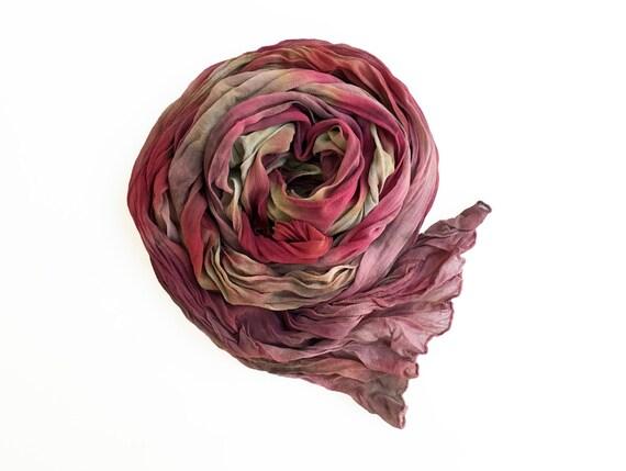 """Beige scarf - silk chiffon scarf - beige, eggplant, fuchsia, dusty rose, lavender, cabernet - crinkle chiffon - fall - 17""""x74""""-LARGE (A)"""