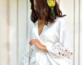 Bridal Robe, Lace Guipure Insert, Ivory Lace Robe - Code: P134