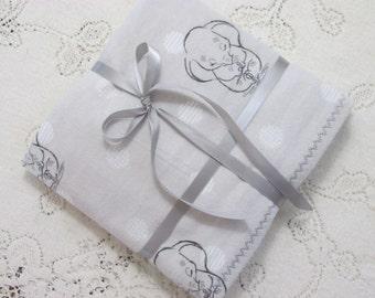 Extra-Large Receiving Blanket, Gray w/ Sleepy Baby Dumbo Elephant and Dots, Baby Blanket, Baby/Crib Blanket, Baby Gift, Hannahs Homestead2