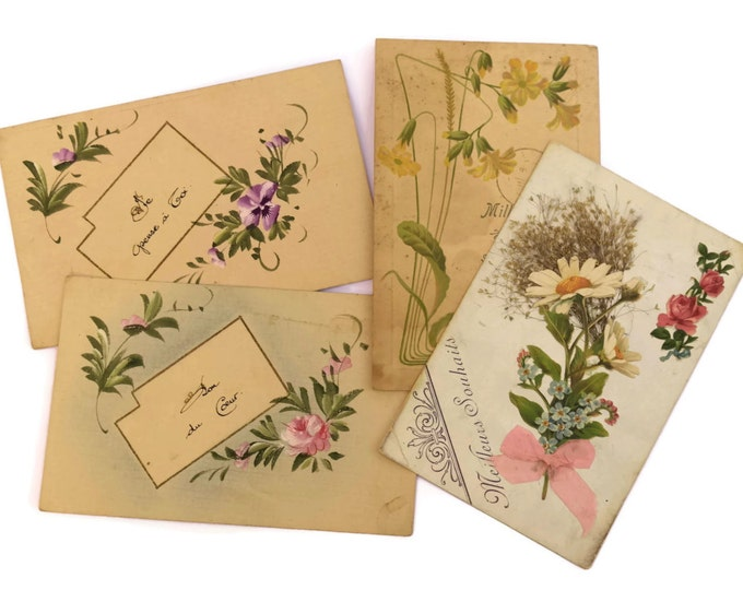 Antique French Flower Postcards. Hand painted Postcards. Antique French Floral Art Cards. Victorian Floral Motifs Illustrations.
