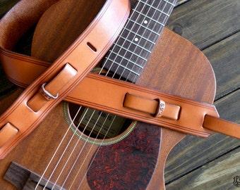"Custom Leather Guitar Strap  - Vintage Style - Handmade Guitar Strap - 2"" - Acoustic Guitar - Electric Guitar - Bass Guitar - Dobro - Music"