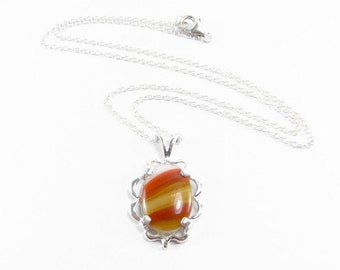 Candy Corn Necklace - Halloween Necklace - Fall Candy Necklace - Autumn Necklace - Sterling Silver Chain Necklace - Candy Corn Jewelry