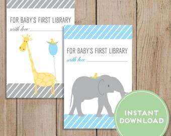 Printable Baby Shower Bookplate. Baby Book Sticker. Baby Bookplate. Baby Boy Book Label. First Library. Elephant Giraffe. Blue Baby Shower