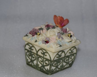 Dezine Trinket Box Flowers Butterfly Hand Painted