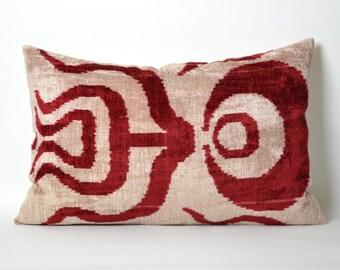 Red Velvet Pillow Cover - 16x24 Maroon Red Ivory Handwoven Decorative Home Decor Ikat Velvet Pillow Cover Lumbar Pillow Cover Accent Pillow