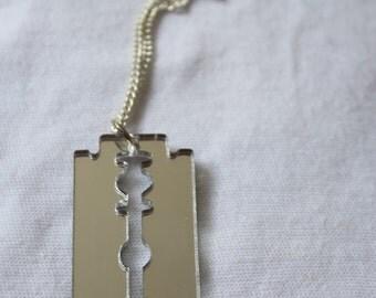 Unisex necklace - plastic mirror - RAZORBLADE razor blade