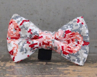 Dog Bow Tie in Pink and Red Floral Pattern