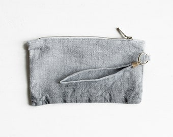 Linen Pouch / Natural Linen Purse / Hand Dyed Linen Clutch / Woman Fashion Accessories / Flax Small Pouch / Pencil Case / Zipper Pouch