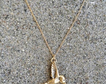 Hummingbird Necklace, Bird Pendant, Gold Bird Necklace