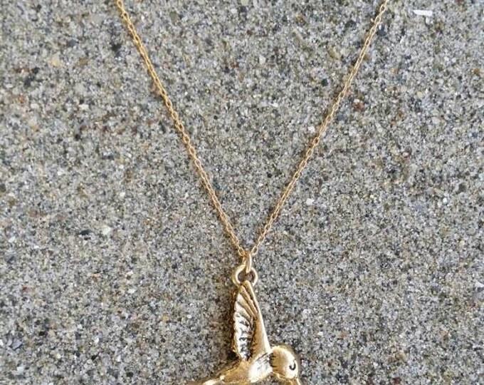 Hummingbird Necklace, Bird Pendant, Gold Bird Necklace