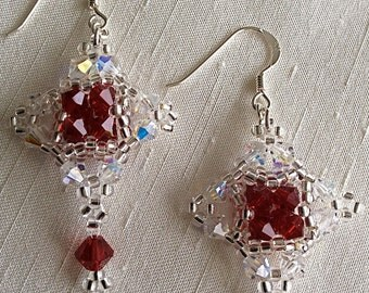 Earrings, Crystal Earrings, Swarovski Crystal, Handstitched in Ab, Deep Red and Silver, Sterling Earwires.