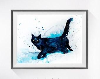 Black Cat watercolor painting print, Cat art, animal watercolor, animal illustration, Cat illustration, Cat poster, art print, cat art