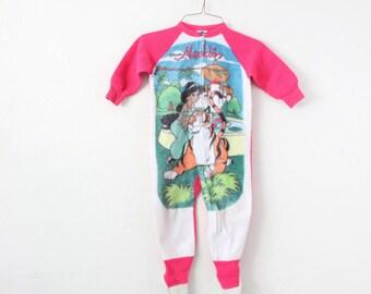 Girls Size 5 Vintage 1990s Aladdin Jasmine Zip Up Footy Pajamas