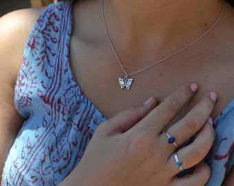 Sterling Butterfly Charm Necklace
