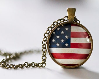 American Flag Pendant Necklace - Bronze Pendant - Patriotic Jewelry - American Flag Jewelry - US Flag Pendant