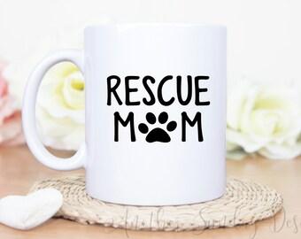 rescue mom, dog mom, dog gift, dog mug