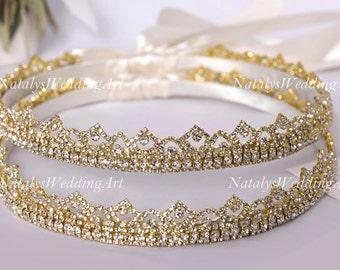 Stefana Greek Crowns Crystal Orthodox Wedding Stefana Handmade Stephana * Choose Gold or Silver plated *
