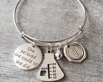 Science Gift, Science Teacher, Lab Beaker, Chemist, Lab technician, science lab, Gift, Silver Plated Bracelet, Charm Bracelet, Custom,