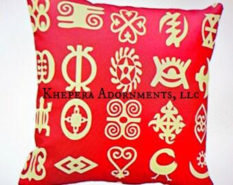 Adinkra Symbol Pillow Case, African Pillow Case, African Fabric Pillow, African Home Textile, Throw Pillow Cover