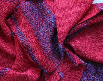 Red scarf handwoven FREEE USA SHIPPING!