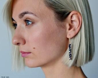 Dangle earrings Clay earrings Black earrings Architectural earrings Stick earrings Statement earrings jewellery Contemporary jewelry modern