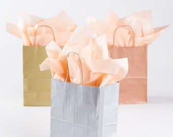 50 silver gift bags with handles for wedding guests welcome bag party favor