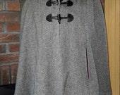 Custom Handmade Wool Hooded Cape, Black Herringbone Wool Cape, Hip Length Cape Size Small to Medium