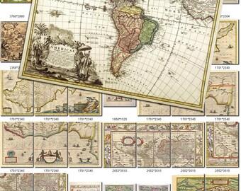 ANTIQUE MAPS-1 Collection of 200 large size images printable old ancient World ephemera card vintage hemisphere Earth Sky download jpg Jpeg