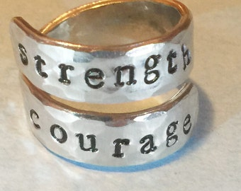 Strength Courage Inspirational Ring - Inspirational Gift - Hammered