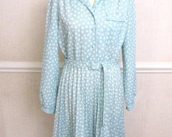Vintage Shirtwaist Dress | Pale Green Vintage Belted Tea Dress