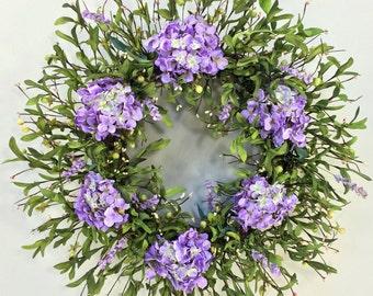 Hydrangea Wreath, Spring Wreath, Summer Wreath, Wedding Wreath, Spring Decor, Hydrangeas, Floral Door Decor, Mothers Day, Purple Green