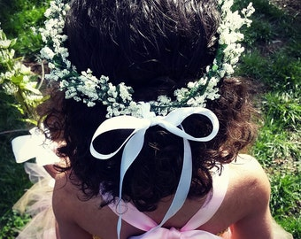 Flower hair piece crown made with faux baby's breath and satin ribbon, toddler, girls,flower girl, wedding, customizable