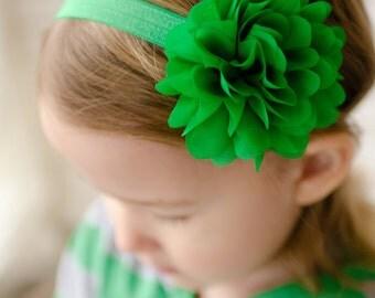 Green Headband, Green Hair Bow, Green Flower Headband, Green Hairbow, Green Hair Clip, Baby Headband, Emerald Green Headband