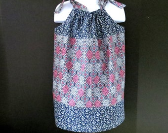 Pillowcase Dress Size 5 Pink Navy Boho Look Dress Cute and Comfy Spring and Summer Ready to Ship