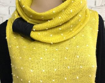 Yellow Mustard Polka Dot Knit - Tunic Dress