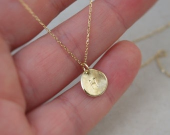 9ct yellow gold and silver pendant 9k gold oxidised 9ct yellow gold small pendant 9k gold organic gold disc pendant letter aloadofball Image collections