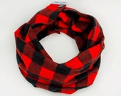 Flannel infinity scarf for Baby, Buffalo plaid baby scarf with snaps, Red checkered, Toddler scarf, Fall baby scarf, Lumberjack baby scarf