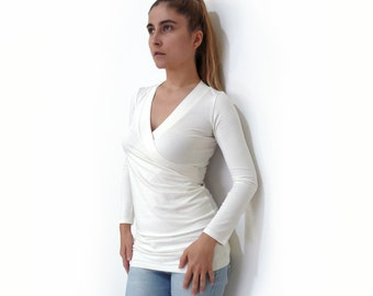 Pdf Sewing Pattern summer/winter Women's/Girl Jersey fitted, V neck T-shirt with Long/Short sleeve XS-XL n.23  *new plus size XXL available