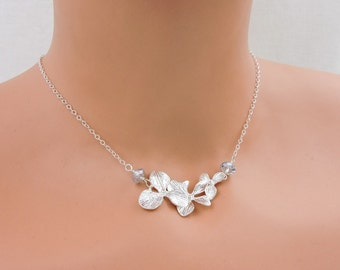 FREE US Ship Orchid And Swarovski Crystal Flower Girl Necklace Silver Cascading Orchid Flower Girl With Crystals Necklace Flower Girl Gift