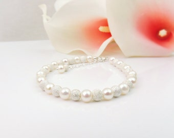FREE US Ship AA Freshwater Pearl And Sterling Silver Stardust Bridal Bracelet Sterling Freshwater Pearl Bridesmaid Bracelet Bridesmaid Gift