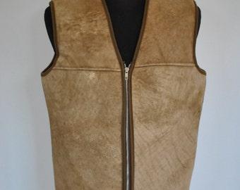Vintage LEATHER COAT VEST , lamb skin fur  leather vest with advance patina ....(017)
