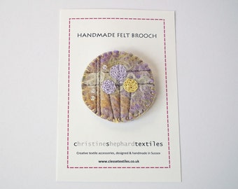 Handmade Felt Brooch, Embroidered Flowers, Beads, Mackintosh-Style, OOAK Gift, UK Seller