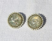 Vtg 50s Confetti Lucite Earrings with Pearls