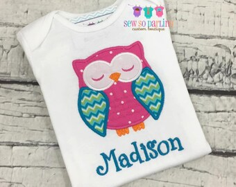 Owl baby girl outfit - baby girl bodysuit one piece - Owl Shirt - Personalized baby girl clothes