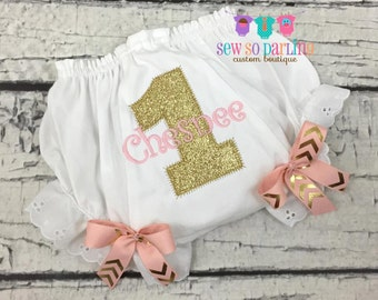 pink and gold chevron birthday diaper cover - Pink Gold Chevron Baby Girl Bloomers - 1st Birthday Diaper Cover - Birthday Baby Bloomers -